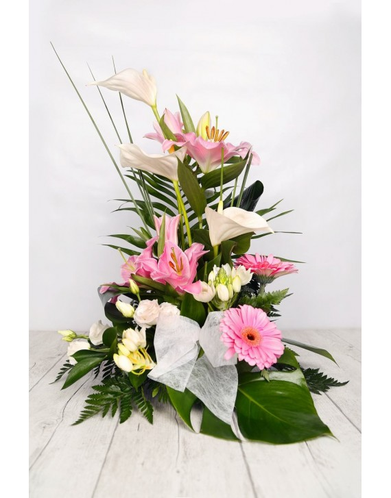 (C100) Tall arrangement in pink and white