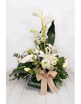 (C101) Tall arrangement with white flowers