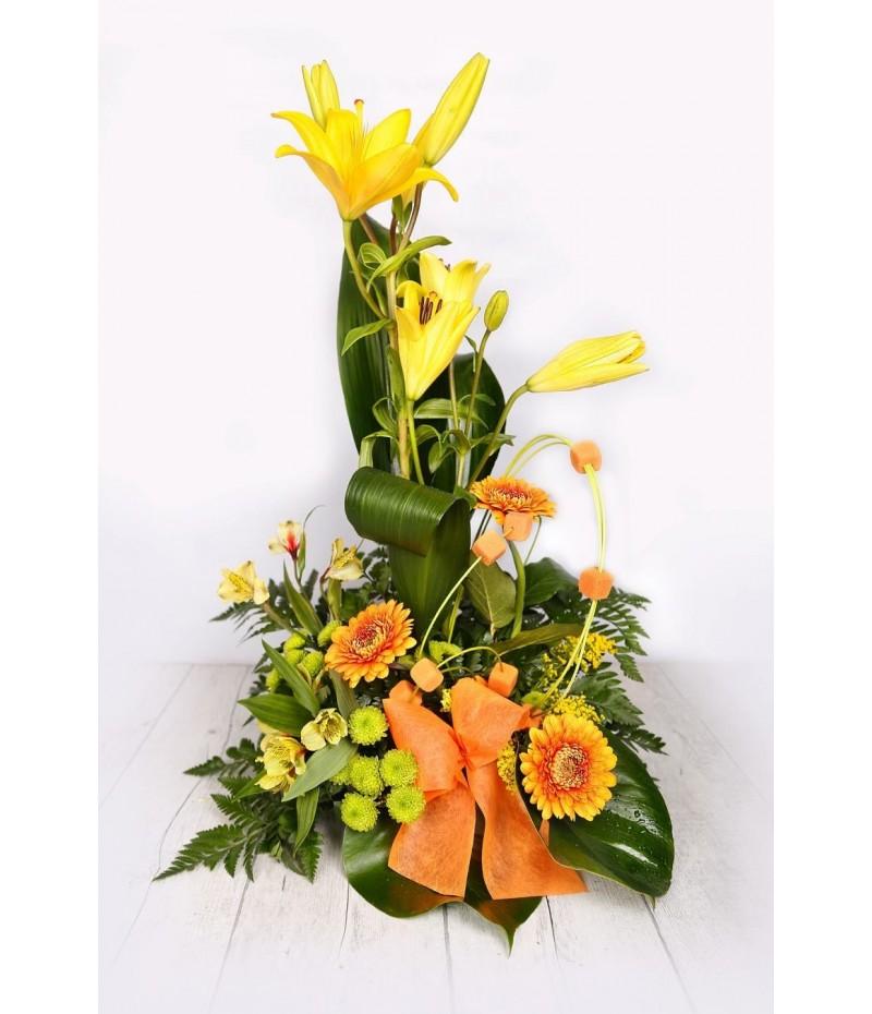 (C102) Centro una cara amarillo y naranja
