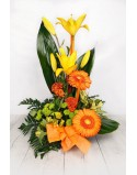 Arrangement a face of yellow and orange