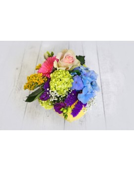 (C103) Medium round arrangement multicolour with glass vase