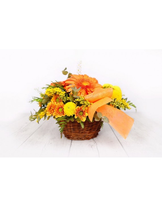 (C104) Basket of yellow and orange flowers