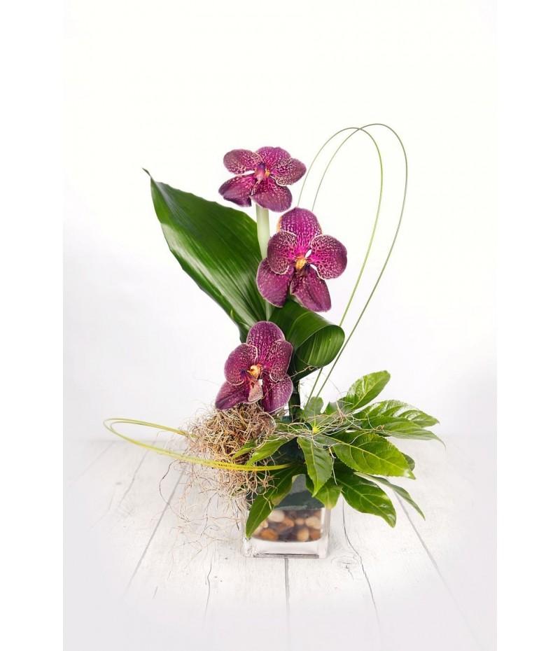 (C110) Centro tres orquideas vaso cristal