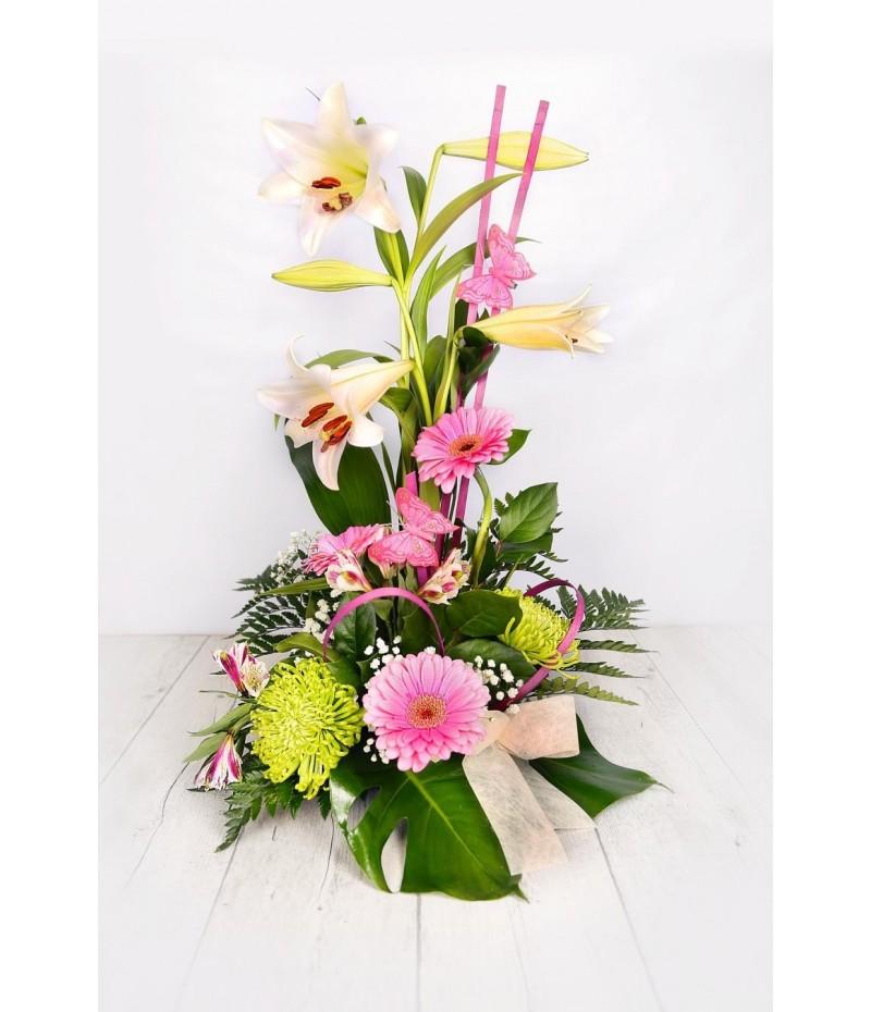 (C113) Tall Arrangement lillium gerberas