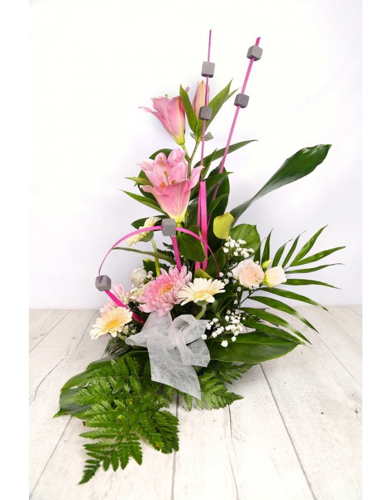 (C115) Tall arrangement with pink lilies