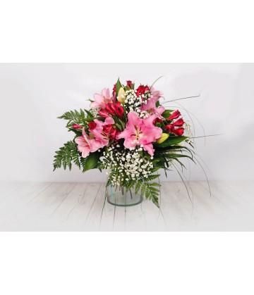 (R100) Bouquet of  lilies & alstromelia