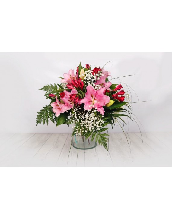 (R100) Bouquet of  lilies & alstromelia
