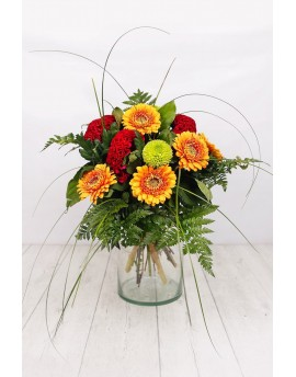 (R104) Bouquet of mixed reds and oranges