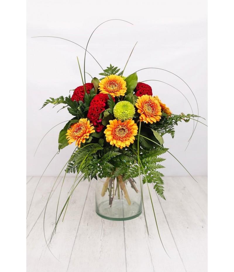 (R104) Ramo variado rojo y naranja