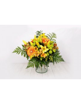 (R108) Bouquet with mixed oranges and yellows