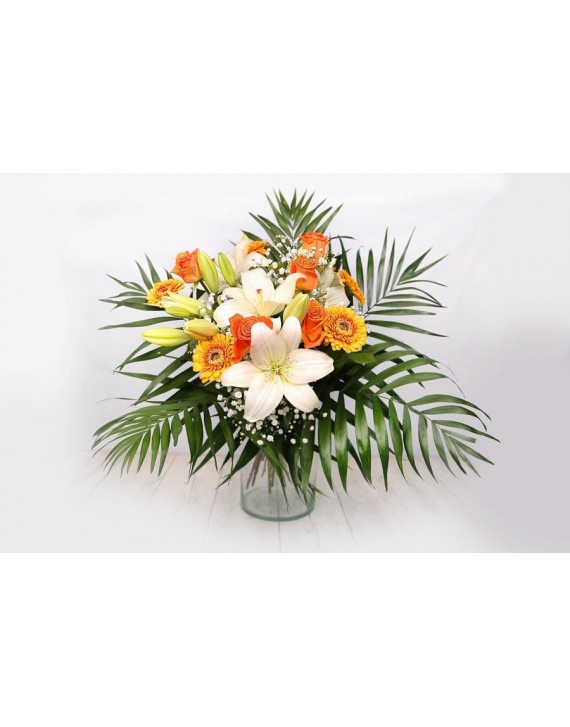 (R111) Bouquet of white flowers and orange roses