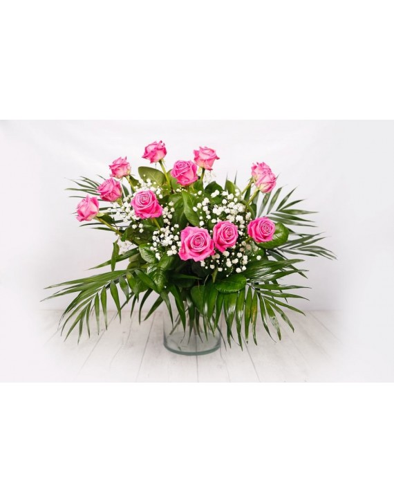 (RO103) Bouquet of 12 pink roses