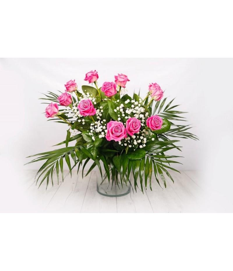 (RO103) Ramo de 12 rosas rosas