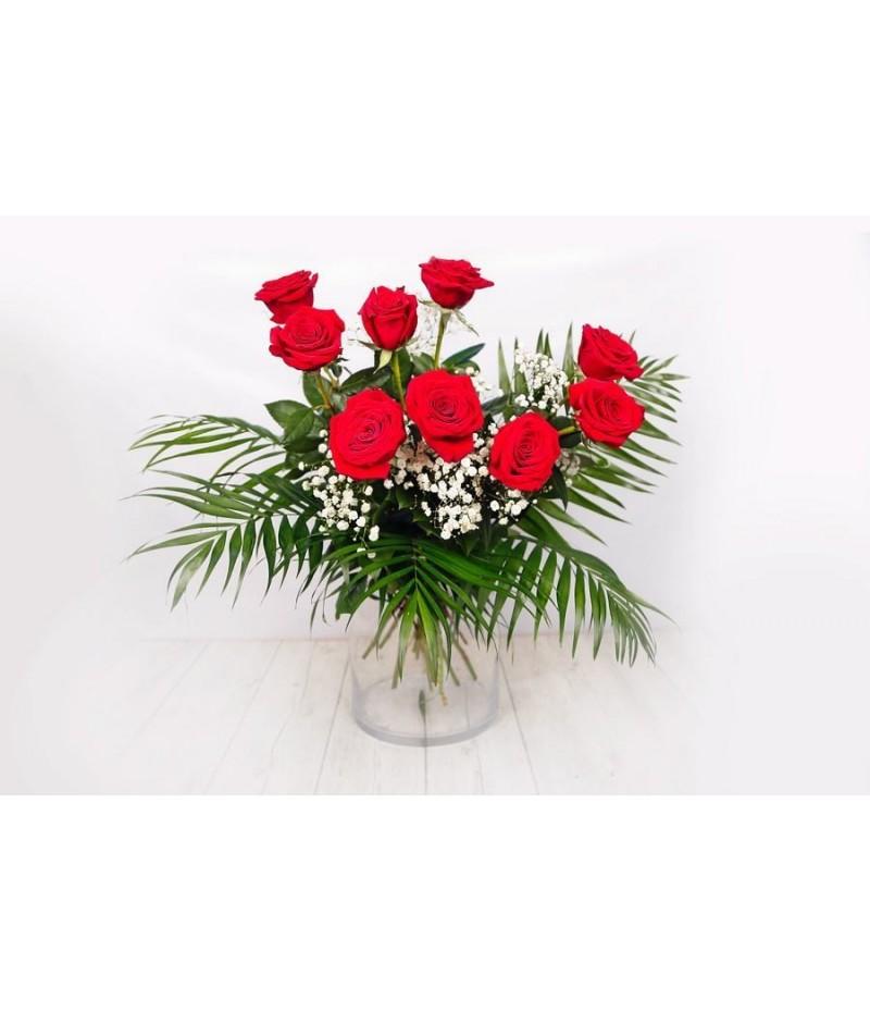 (RO105) 9 Rosas rojas