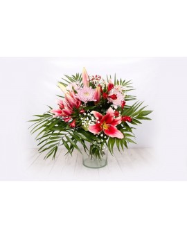 (R110) Bouquet pink shaded of lilies and alstroemeria