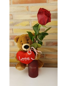 (VAL 001) Red Rose in a vase with a bear.