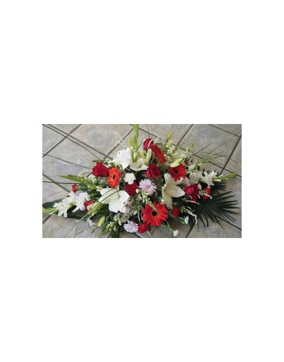 (FA100) Funeral arrangement in red and white