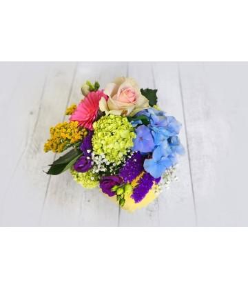 Arrangement Round multicolour crystal vase