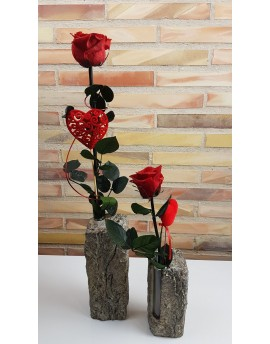Pair of Everlasting Red Roses